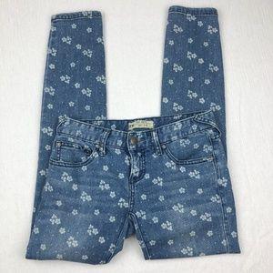 [Free People] Floral Denim Ankle Skinny Jeans